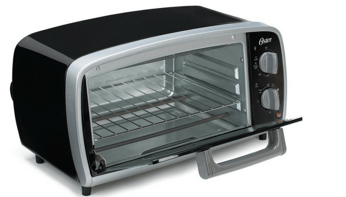 Oster Four Slice Toaster Oven With Door Open