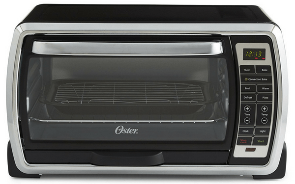 Oster Large Digital Countertop Convection Toaster Oven, 6 Slice, Black/Polished Stainless