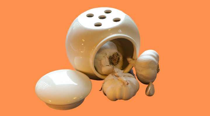 Garlic in a ceramic storage container